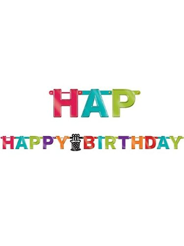 Amscan Happy Birthday Rainbow Foil Letter Banner, Multicolored, 7 1/4'/Large - 1