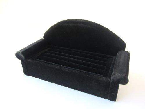 【2色展開】 ソファ タイプ リング ディスプレイ 指輪 ジュエリー 4段 ケース (ブラック)
