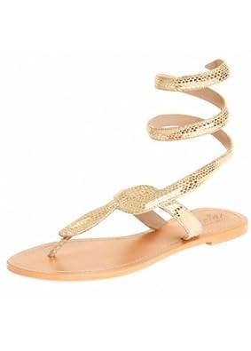 3c4b1d5e5e4d Wrap Toe Post Flat Sandal Gold UK 7 - 40  Amazon