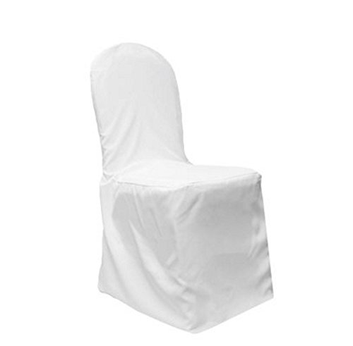 LinenTablecloth Polyester Banquet Chair Cover White