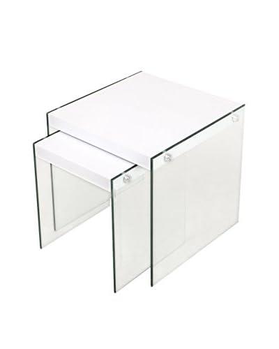 CRIBEL Mesa Auxiliar 2 Piezas Pocket Transparente/Blanco