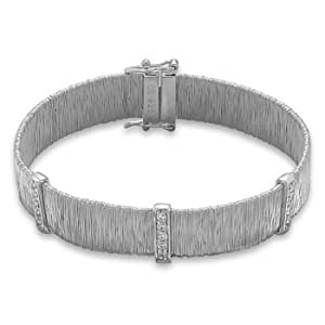 7 Inch Rhodium Plated Sterling Silver Wire Wrap Design Bracelet With Three 2mm CZ Bars - JewelryWeb