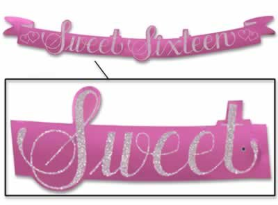 Beistle 55745 Glittered Sweet Sixteen Streamer, 5-1/2-Inch by 3-Feet 6-Inch