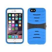 Stripe Pattern Silicone + Plastic Protective Case with Holder for iPhone 6(Blue)