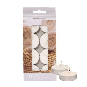 Luminessence Fresh Linen Scented Tealight Candles - Pack of 8