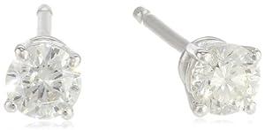 14k White Gold Round Diamond Stud Earrings (1/4 cttw, H-I Color, I1-I2)