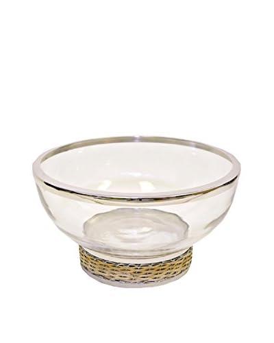 Frances Stoia Wicker Salad Bowl, Beige/Chrome