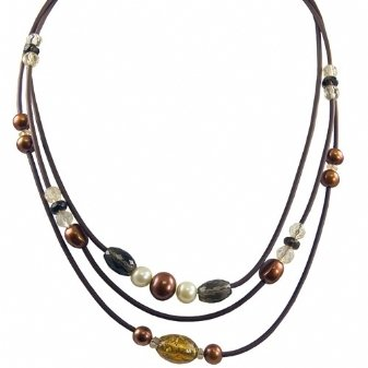 Sterling silver dyed chocolate and yellow freshwater cultured pearl with glass bead brown rubber necklace, 17.5-18.5