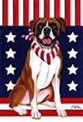 Boxer - by Tomoyo Pitcher, Patriotic Themed Dog Breed Flags 12 x 18
