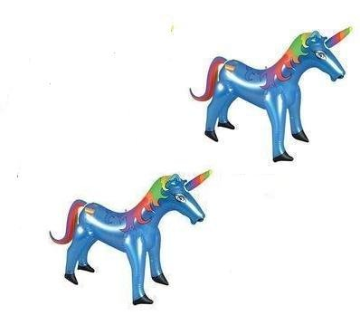 Set of (2) Blue Inflatable Unicorns (36in. Each) / Party Favor / Decor / Gift / Prize / Fantasy/ Horse Giveaway - 1