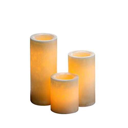 Expressme2u 4''6''8'' X 4'' Dia - Marble Look - Flameless Summer Melon Decor Led Candles With 5 Hrs Timer