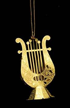 #!Cheap 2 and 3/4 Inch Lyre Christmas Tree Ornament - Brass
