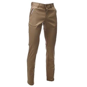 FLATSEVEN Mens Slim Fit Chino Pants Trouser Premium Cotton Blend (CH198) Beige, Size L