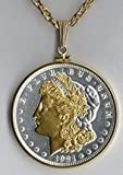 31dFCYlcdNL. SL160  U.S. Morgan Silver Dollar (Minted 1878   1921) Two Tone Plain Bezel Coin with 24 Chain