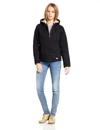 Dickies Women's Sanded Duck Hooded Jacket, Black, Small