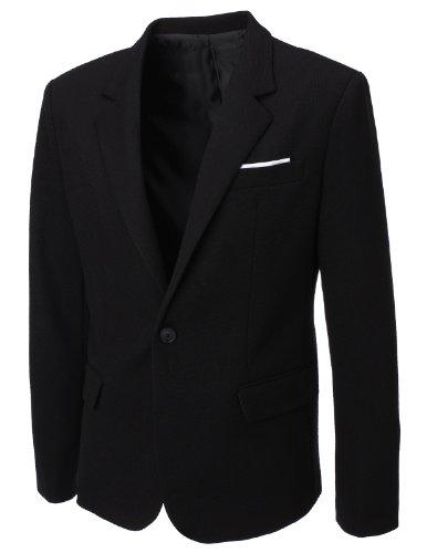 Flatseven Mens Designer Waffle Fabric Blazer (Bj115) Black, Mens Xl