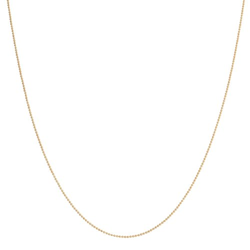14 Karat Yellow Gold 0.8-Mm Shiny Bead Ball Chain (18 Inch)