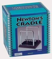 Newtons Cradle Kinetic Energy Physics 4.5 Inces Tall on Black Base - 1