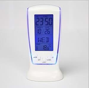 Vktech New LCD Digital Alarm Clock Calendar Thermometer Blue LED Backlight