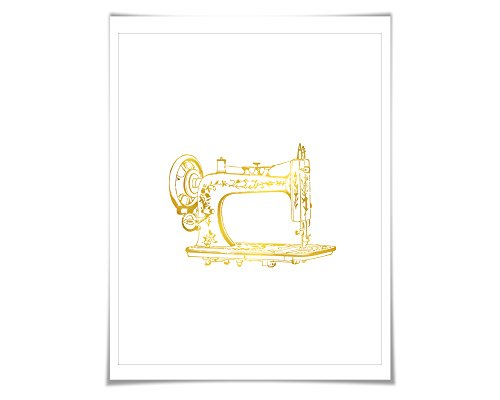 Antique Sewing Machine Gold Foil Art Print. 7 Foil Colours/3 Sizes. Gift for Seamstress Crafter Vintage Poster Clothing Designer (Crafters Choice Sewing Machine compare prices)