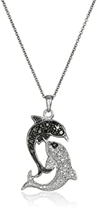 Sterling Silver Black and White Diamond Dolphin Pendant Necklace (1/4cttw, I-J Color, I2-I3 Clarity)