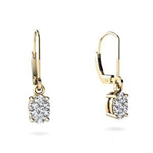 Or jaune 585/1000 Diamant Boucle d'oreilles