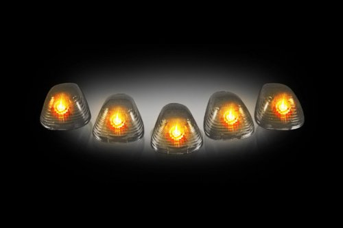 Recon 264142Bk Smoked Cab Roof Lights Replacement Lenses Only 1999-2008 Ford Super Duty (5-Piece Set)