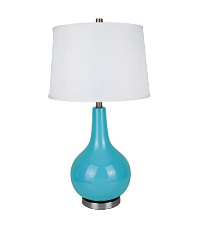 ORE International Ceramic 1-Light Table Lamp with Linen Shade, Blue