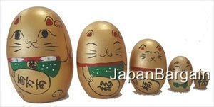 JapanBargain Educational Products - Gold Maneki Neko Matryoshka Nesting Doll #MD1/G - Set of 5 Nesting Dolls<br>Dimension From Largest to Smallest:<br><br>* 3-3/4in H x 2-1/2in Dia <br>* 3in H x 2in Dia<br>* 2-1/8in H x 1-1/2in Dia<br>* 1-1/2in H x 1