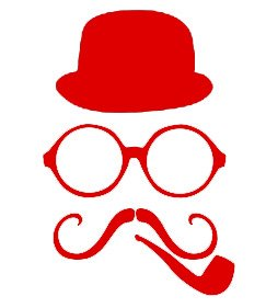 """Amazon.com : 7"""" inches red silhouette of hat round glasses"""