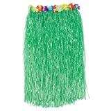"Adult HULA SKIRT with HIBISCUS Flower TRIM/34"" x 30""/LUAU PARTY Grass Skirt with TOUCH Fastener WAIST/GREEN Floral"