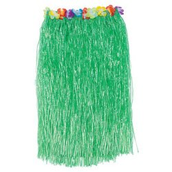 """Adult Hula Skirt With Hibiscus Flower Trim/34"""" X 30""""/Luau Party Grass Skirt With Touch Fastener Waist/Green Floral front-561620"""