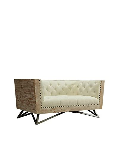 Armen Living Regis Loveseat with Pine Frame and Gunmetal Legs, Cream