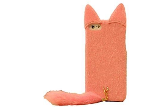 かわいい 猫 もこもこ 毛 iPhone 6 6S ケース ふさふさ ねこ しっぽ iPhoneカバー (ピンク)