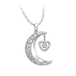 Moon-Shaped Diamond Pendant Necklace: I Love You To The Moon And Back by The Bradford Exchange