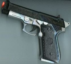 Silver Baretta 9 mm Semi Automatic Toy Pistol Gun with Blow Back Action