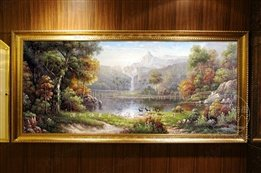 Continental Frame the classical landscapes living room hand-painted oil painting hotel office decorative painting three deer