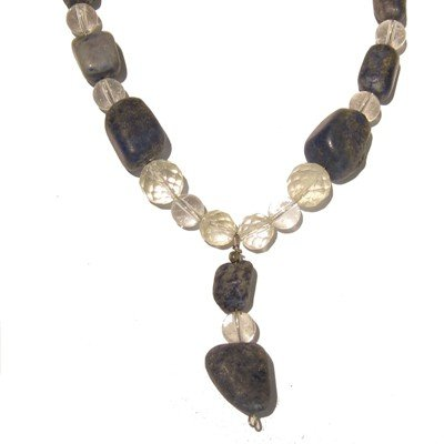 Lapis Necklace 05 Beaded Quartz Faceted Blue Stone Crystal Healing 18