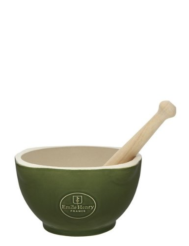 Emile Henry 0.6 Litre Natural Chic Mortar and Pestle, Olive