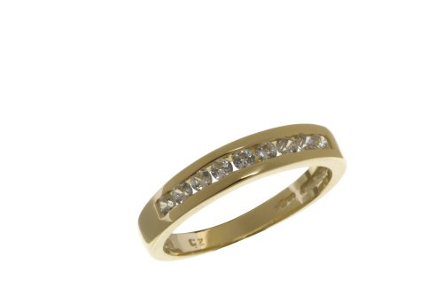 Eternity Ring, 9ct Yellow Gold Cubic Zirconia Ring, Channel Set