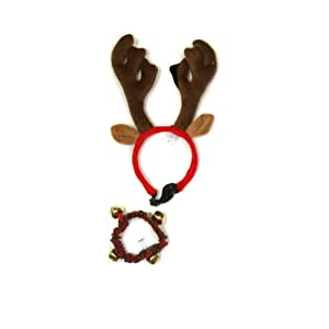 Kyjen PP03374 Holiday Bell Collar Antler Combo Pack Holiday Wearable Accessories For Dogs, Large, Green