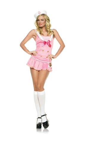 2 Piece Shipmate Cutie Costume with Accessories in Pink/White, Sizes Extra Small (UK 6) – Medium/Large (UK 10-12)