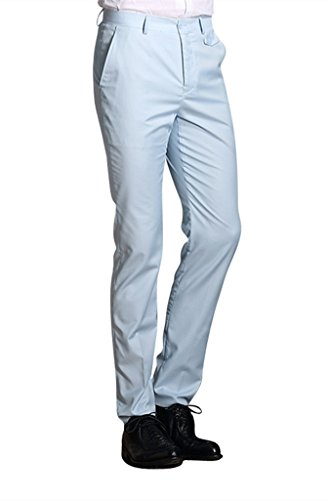 MOGU Mens Slim Fit Flat Front Pant
