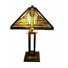 Exceptional Tiffany Style Mission Table Lamp