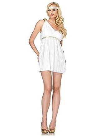 Leg Avenue Women's 2 Piece Goddess Athena Asymmetrical Toga Dress And Headband, White, Medium/Large