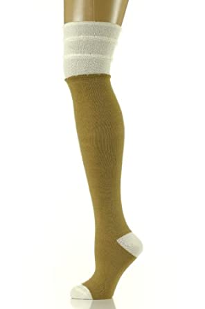 Womens Over The Knee Socks - Colorblock - Camel/Ivory, (9-11)