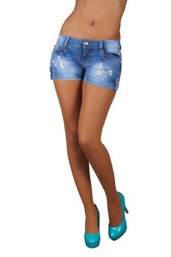5830 Fashion4Young Damen Sexy Jeans Hotpants Short kurze Hose verfügbar in 5 Größen Blau