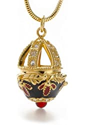 Gold Finish Bejeweled Russian Faberge Style Egg Enamel and Leaf Large Pendant Snake Chain Necklace, 18""