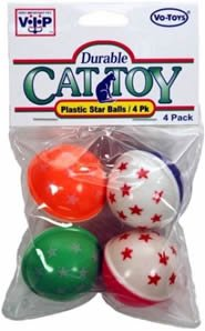 Vo-Toys Neon 2 tone Plastic Star Balls 4 pack Cat Toy