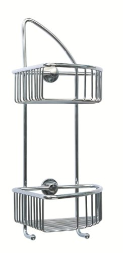 Coorb 2 Tier Corner Shower Caddy Luxury Chrome on Brass -21x21x42cm- Hotel Quality -Unique
